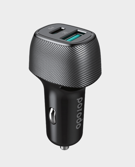 Porodo Dual Port PD Car Charger 36W Includes Braided Type-C to Lightning PD Cable 0.9m/3ft