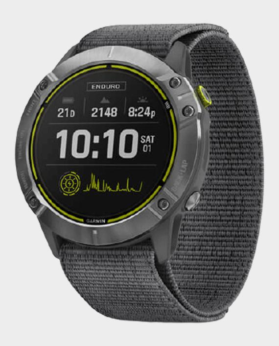 Garmin 010-02408-00 Enduro Smart Watch - Steel with Gray UltraFit Nylon Strap in Qatar