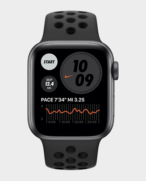 Apple Watch Series 6 M09Y3 44mm GPS + Cellular Space Gray Aluminum Case with Anthracite/Black Nike Sport Band in Qatar