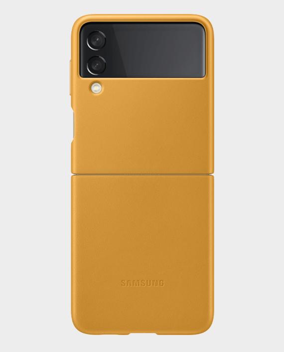 Samsung Galaxy Z Flip3 5G Leather Cover Mustard in Qatar