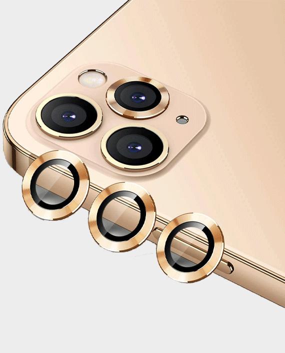 Green iPhone 13 Pro / Pro Max Anti-Glare Camera Glass Protector Gold in Qatar